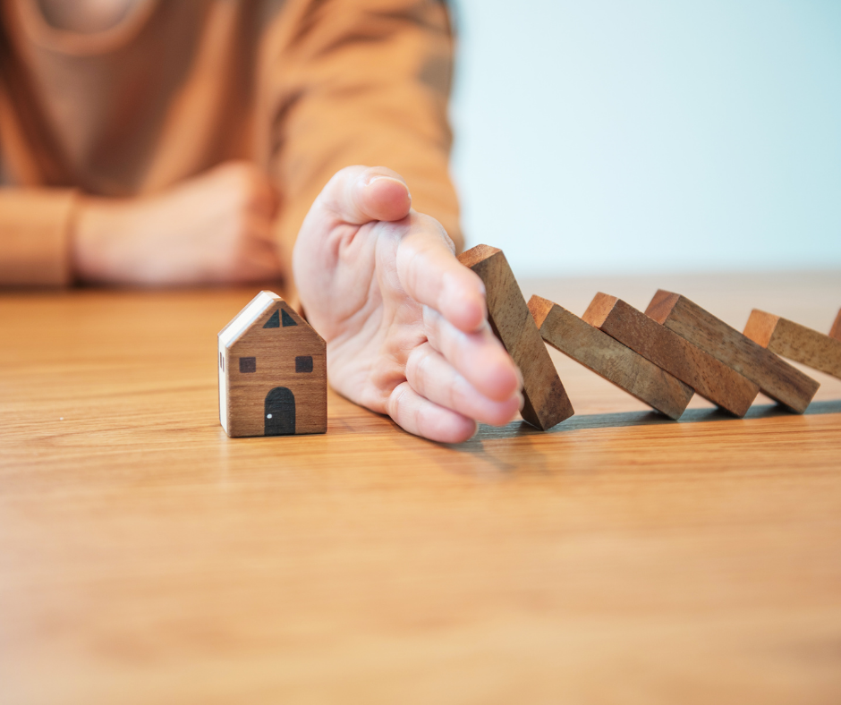Home shaped dominoes | Home Insurance | Nook Mortgages